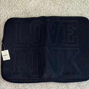 Black LOVE PINK laptop case